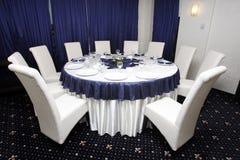 Unternehmensereignisse oder Hochzeitstabellenanordnung Stockfotografie