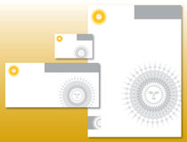 Unternehmensidentitä5 eingestellt - Sun-Zeichen im Gelb Stockfotografie
