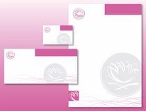 Unternehmensidentitä5 stellte - Lotos-Blumen-Rosa/Grau ein Lizenzfreies Stockbild