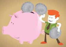 Unternehmenskerl entscheidet sich, sein Geld zu sparen Stockfotos