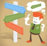 Unternehmenskerl findet die rechte Richtung Stockfotos