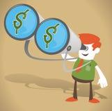 Unternehmenskerl mit Geld in seinen Ferngläsern Lizenzfreies Stockfoto