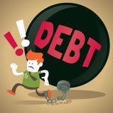 Unternehmenskerl wird in einen Schuld-Klotz am Bein zugeschlossen. Lizenzfreies Stockbild