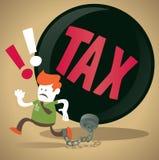 Unternehmenskerl wird in einen Steuer-Klotz am Bein zugeschlossen. Stockfotos
