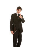 Unternehmensleiter, der Finger zeigt Stockfotos