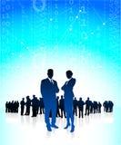 Unternehmensleiter mit globalem Finanzteam Stockbilder