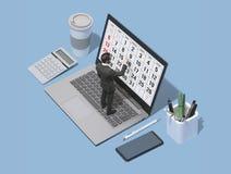 Unternehmensleiterplanung mit einem digitalen Kalender lizenzfreies stockbild