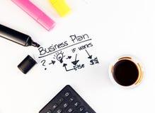 Unternehmensplan fasst nahe Leuchtmarkern, Taschenrechner und Tasse Kaffee, Geschäftskonzept ab Stockfotos
