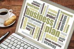 Unternehmensplan-Wortwolke Stockbild