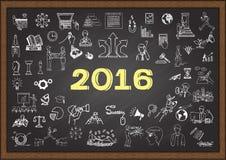 Unternehmensplanskizze für Jahr 2016 auf Tafel Stockfotos