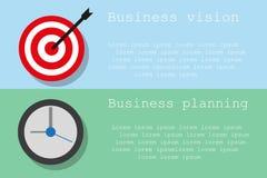 Unternehmensplanung und Vision auf zwei verschiedenen Farbhintergründen Lizenzfreies Stockbild