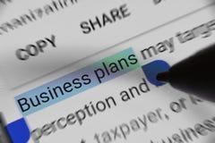 Unternehmensplanwort beim Grasen vorgewählt auf tragbarem Gerät Lizenzfreies Stockfoto