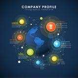 Unternehmensprofilüberblickschablone mit bunten Kreisen Stockbilder