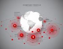 Unternehmensprofilüberblickschablone mit roten Kreisen Stockbild