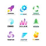 Unternehmensvektor-Logosatz Abstrakte moderne geometrische Embleme mit Form in der Bewegung und in der Farbe Stockfoto
