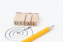 Unternehmensziel, Ziel oder Leistungskonzept, Handzeichnung dartb stockbilder
