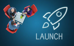 Unternehmensziele Rocketship-Ziel-Konzept Stockfotos