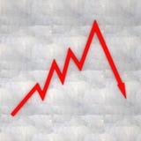 Unternehmenszusammenbruch (Diagramm 3d auf Betonmauer) Stockbilder