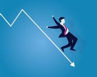 Unternehmenszusammenbruch-Geschäftsmann Falling Down auf Pfeil Stockbild