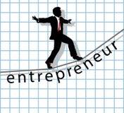 Unternehmer auf Drahtseil beginnen oben Erfolg Lizenzfreie Stockfotografie