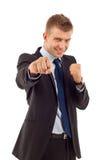 Unternehmer betriebsbereit zum Kampf lizenzfreie stockbilder