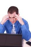 Unternehmer mit Kopfschmerzen Stockbilder