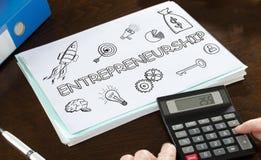 Unternehmergeistkonzept veranschaulicht auf einem Papier Stockfoto
