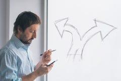 Unternehmerische Entscheidung, eine Wahl im Unternehmergeisten treffend stockfoto