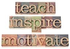 Unterrichten Sie, spornen Sie an, motivieren Sie Lizenzfreies Stockbild