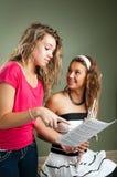 Unterrichtende Flöte der jungen Frau Lizenzfreie Stockbilder
