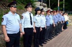 Unterrichtung der Offiziere der Transportpolizei Lizenzfreies Stockfoto