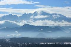 Untersberg峰顶在冬天阿尔卑斯 免版税库存照片