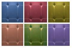 Unterscheiden Sie sich Farbledernes Sofa für Hintergrund Stockfotos