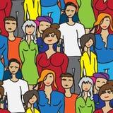 Unterscheidende Charaktere des nahtlosen Musters von Leuten Stockfoto