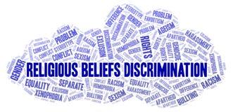 Unterscheidung des religiösen Glaubens - Art der Unterscheidung - Wortwolke lizenzfreie abbildung