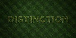 UNTERSCHEIDUNG - neue Grasbuchstaben mit Blumen und Löwenzahn - 3D übertrug freies Archivbild der Abgabe lizenzfreie abbildung