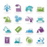 Unterschiedliche Art der Geschäfts- und Industrieikonen Stockfoto
