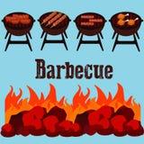 Unterschiedliche Art des Fleisches auf der Grillillustration Lizenzfreies Stockfoto