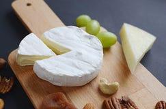 Unterschiedliche Art des Käses mit Nüssen, Trockenfrüchten und Trauben auf hölzerner Platte Lizenzfreie Stockbilder