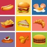 Unterschiedliche Art des Lebensmittels und des Nachtischs Stockfotografie