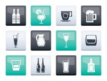 Unterschiedliche Art von Getränkikonen über Farbhintergrund lizenzfreie abbildung