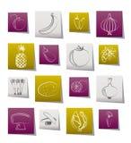 Unterschiedliche Art von Obst und Gemüse von Ikonen Lizenzfreie Stockbilder