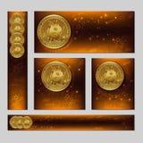 Unterschiedliche editable Fahnenschablone Cryptocurrency Bitcoin 3d Lizenzfreies Stockfoto