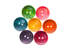 Unterschiedliche Farbdas runde kreisförmige geformte Nähen knöpft in einer Blume lizenzfreie stockbilder