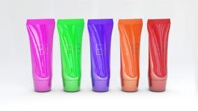 Unterschiedliche Farbe der Grundlagenrohranzeigen-Schablone verpackt des Flaschenmodell Haut-Toners 3D des Bb unterschiedliche Fa Stockfotos