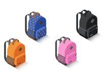 Unterschiedliche Farbe des gesetzten isometrischen Rucksacks des Vektors Stockbilder