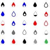 Unterschiedliche Farbe des Tropfens - gesetzte Ikonen Lizenzfreie Stockfotos