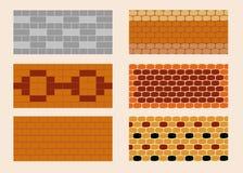 Unterschiedliche Farbe und Muster des Ziegelsteinlegens Stockfotos