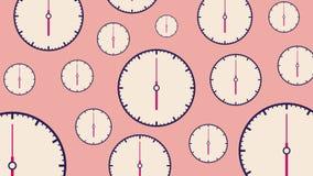 Unterschiedliche Größe der flachen weißen Uhren mit beweglichen Pfeilen auf hellrosa Hintergrund lizenzfreie abbildung