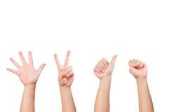 Unterschiedliche Handgeste Stockfoto